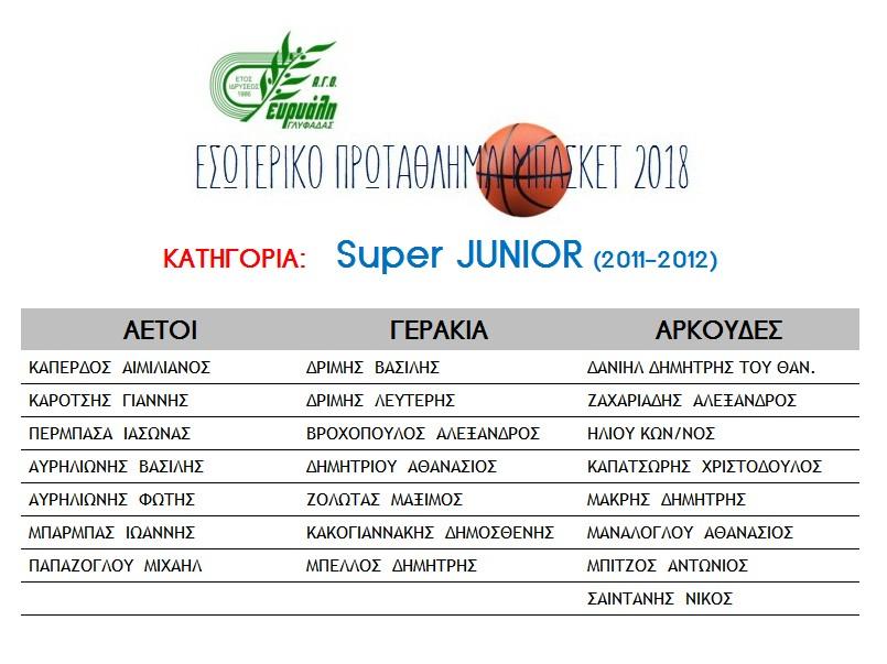 Super Junior Teams 2018