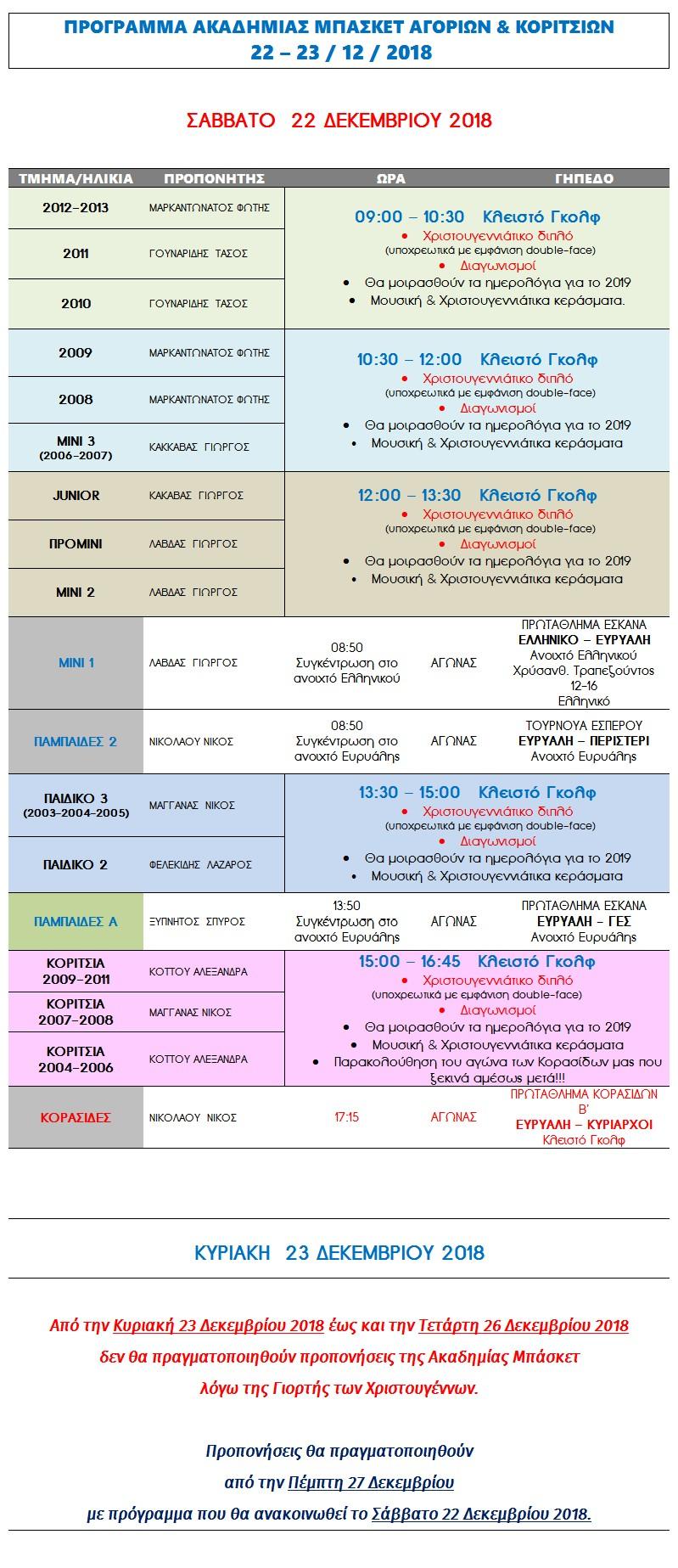 Academy Programme 22 & 23 Dec 2018