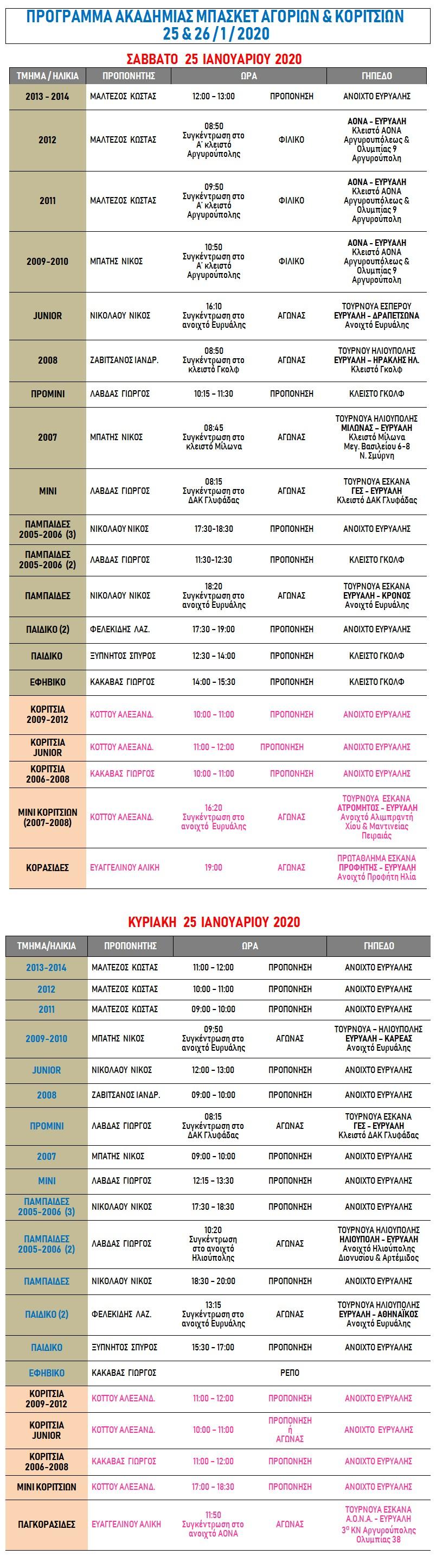 Academy Programme 25 & 26 Jan 2020