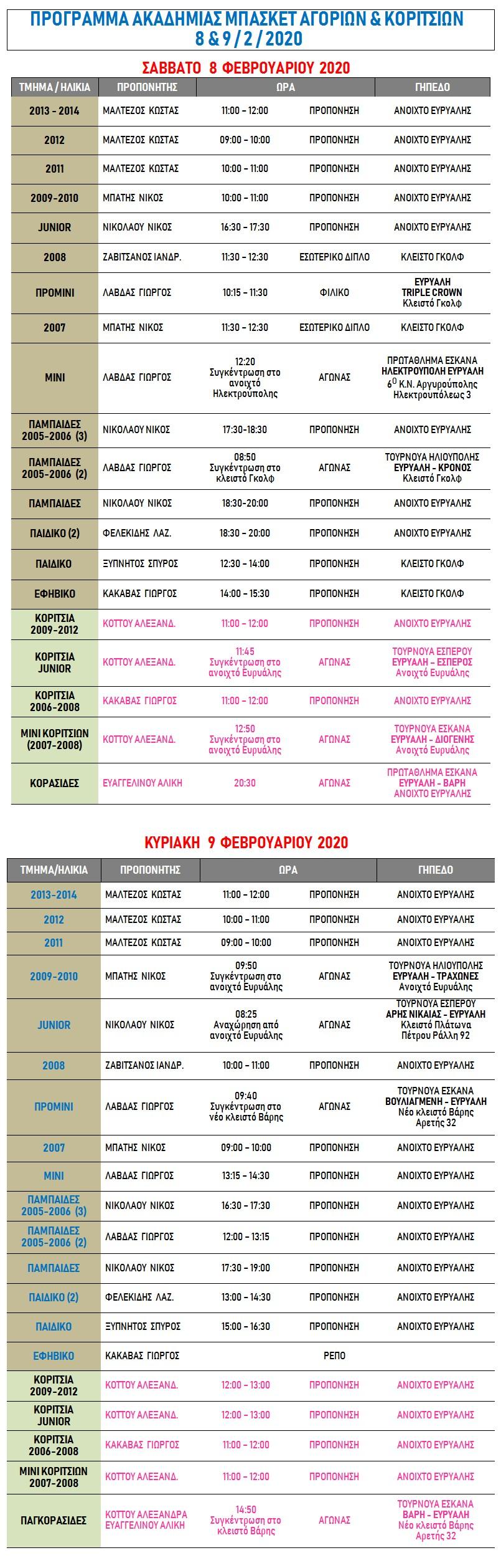 Academy Programme 8 & 9 Feb 2020